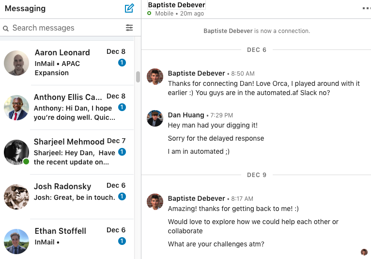 You can handle multiple conversations at once with Linkedin message