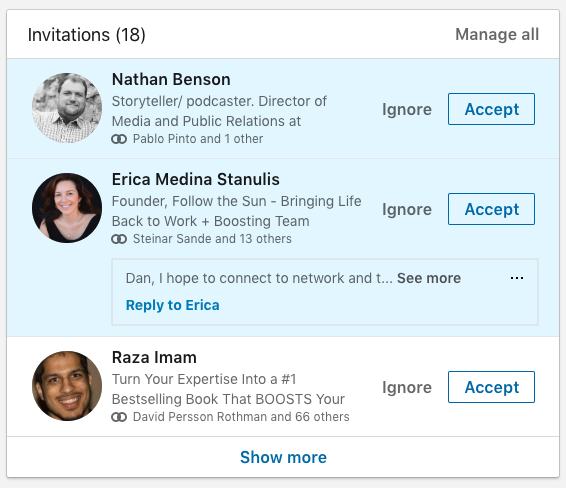 Linkedin connections and invites