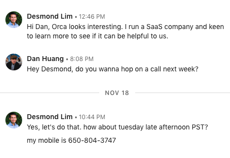 Getting to a call through Linkedin messages
