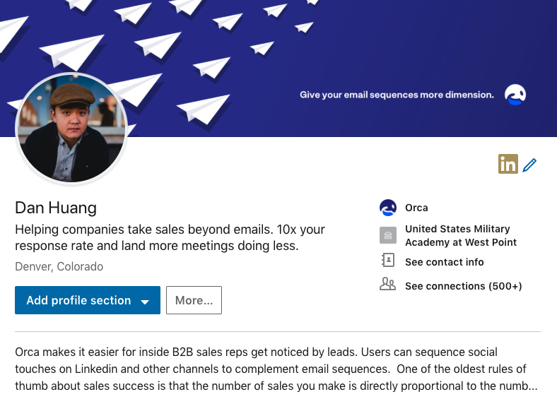 Linkedin profile is like a landing page for your website