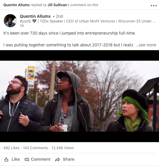 Example of Linkedin video from Quentin