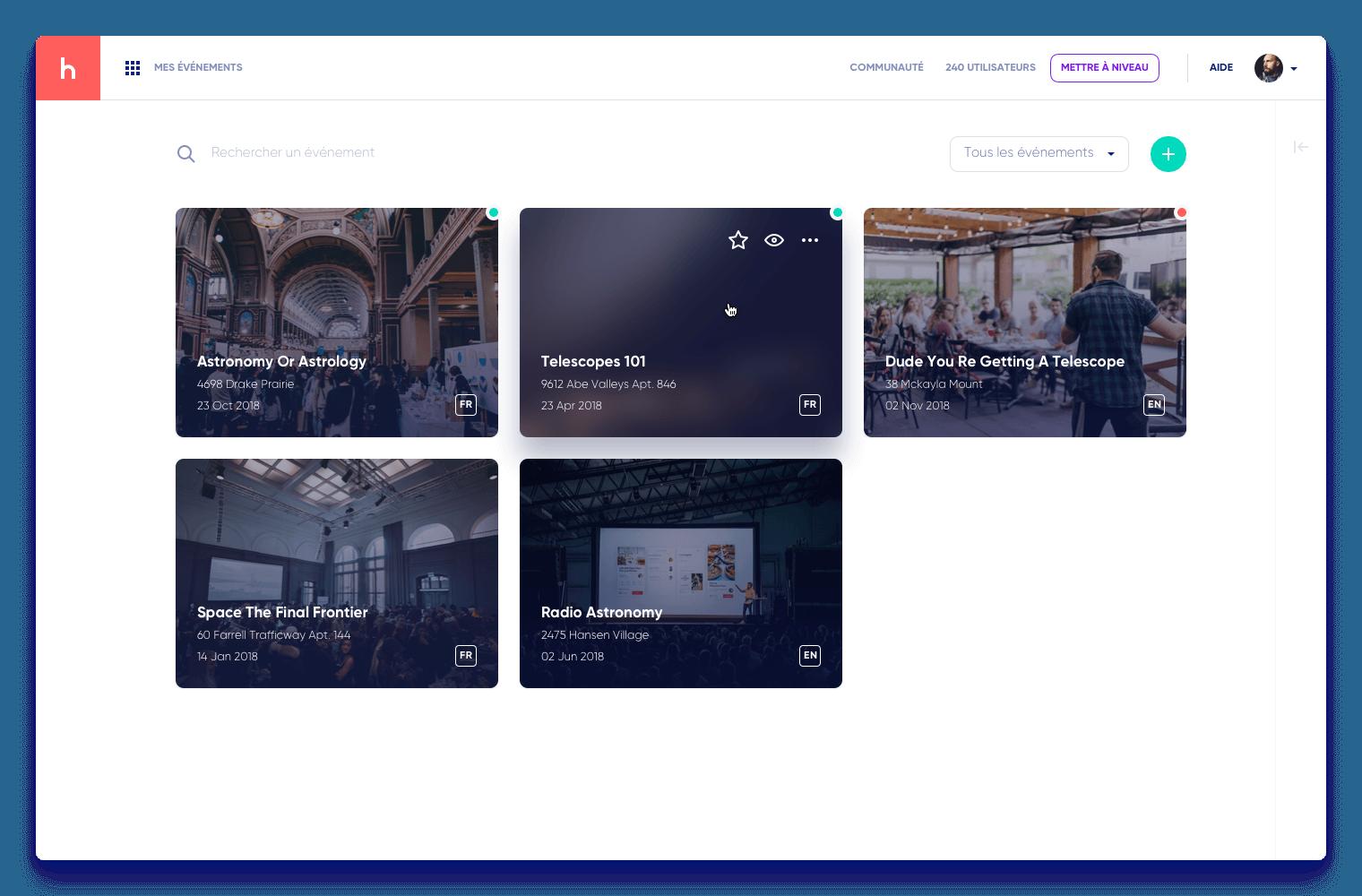 Page de gestion d'evenement sur le tableau de bord d'Haloha