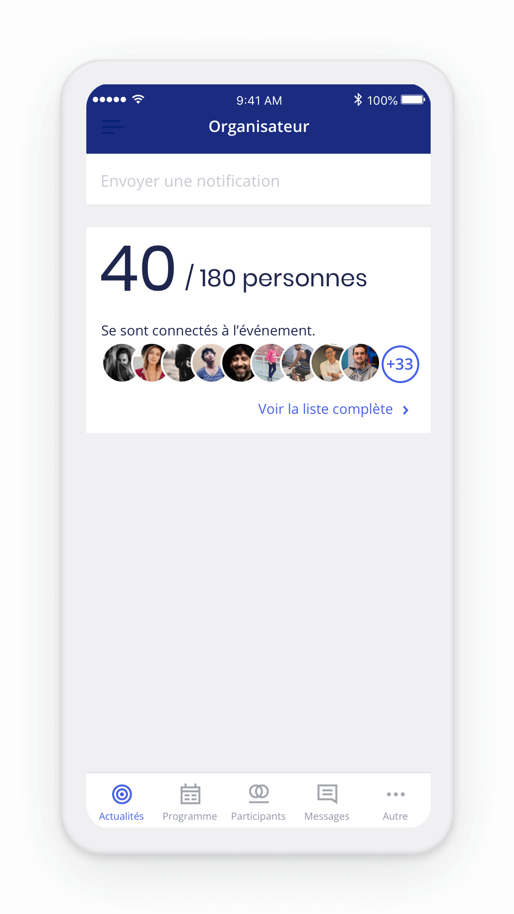 Check-in digital des participants dans l'application Haloha