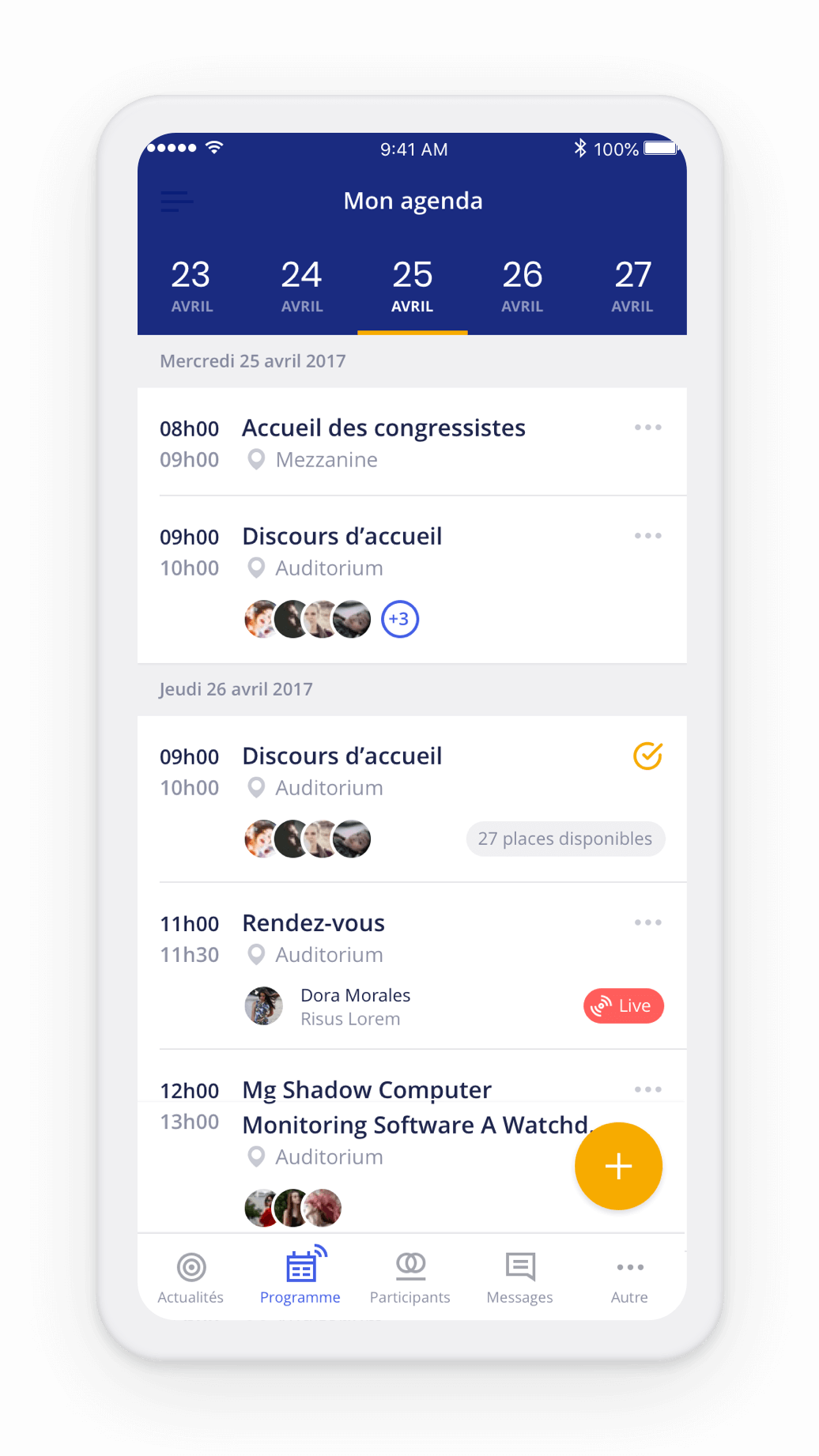 Agenda personnel dans l'application evenementielle Haloha