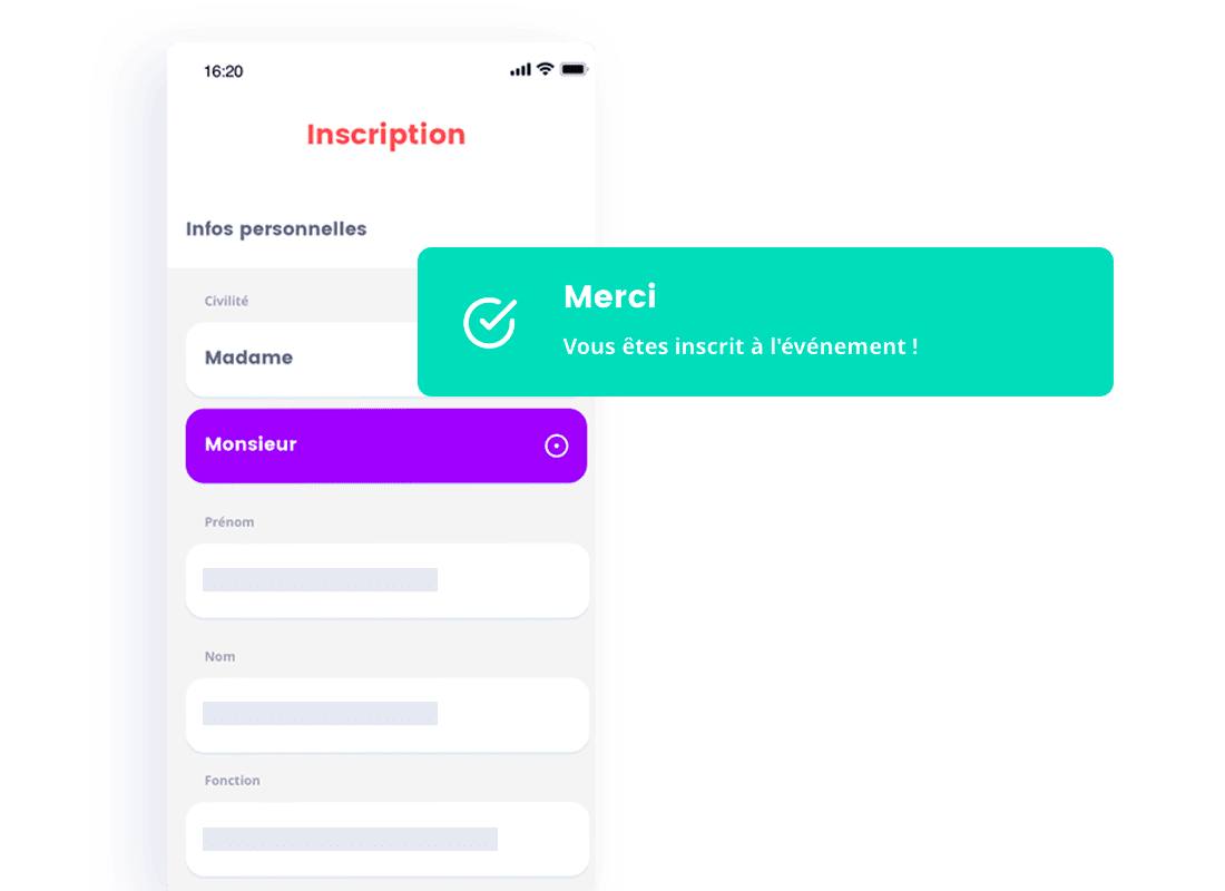 manage registration app