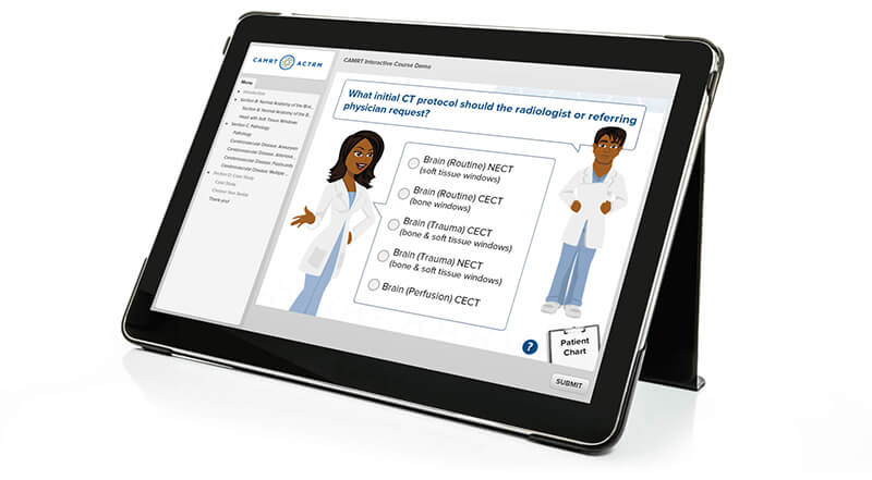 An example of part of an activity which uses a scenario (in this case, a specific patient's health)  - Magic Articulate Storyline Tricks Revealed - eLearning Course Design - Flare Learning