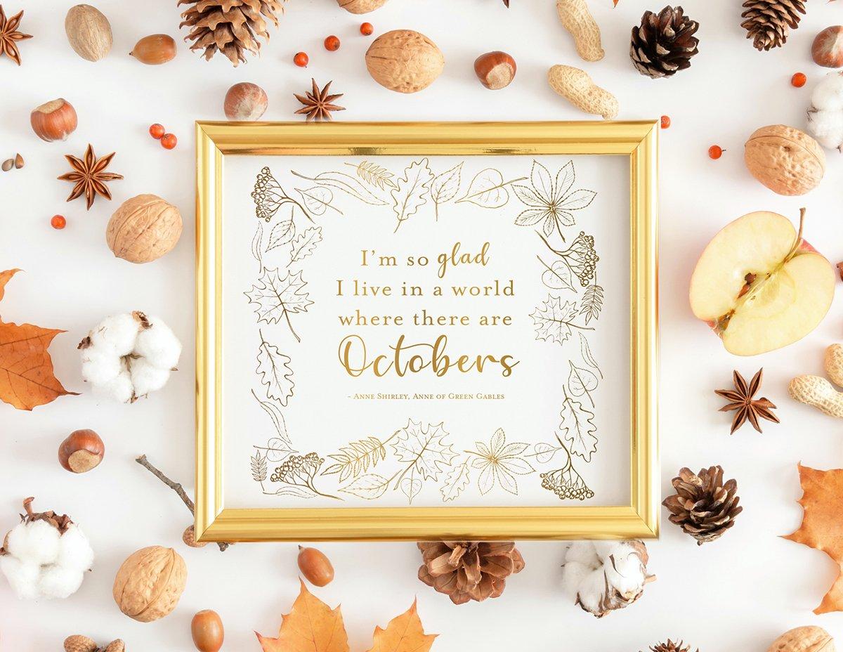 October Gold Foil Print