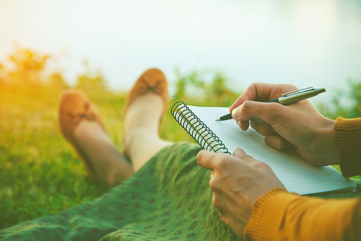 Writing outdoors can inspire your journal writing and allow your creativity to flow