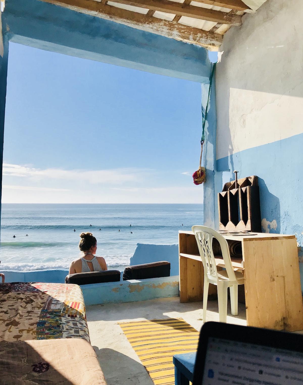 Ellis watching surfers in Imsouane, Morocco