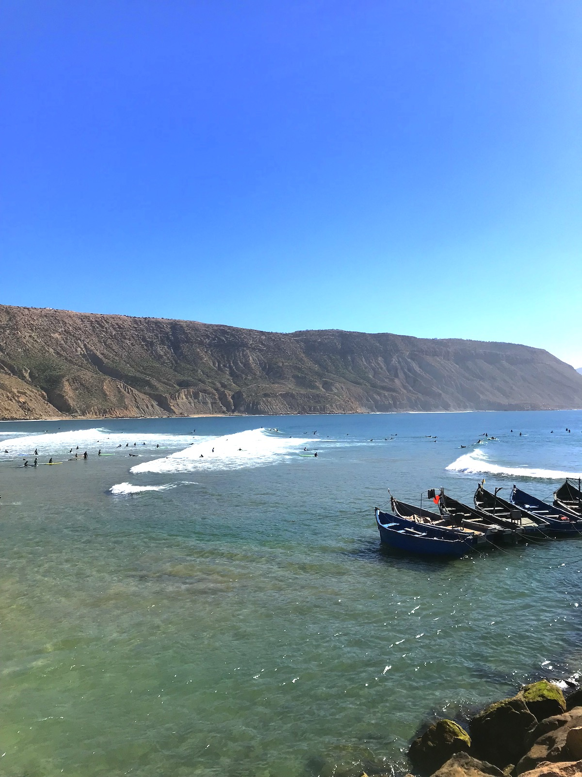 Hundred surfers in Imsouane, Morocco
