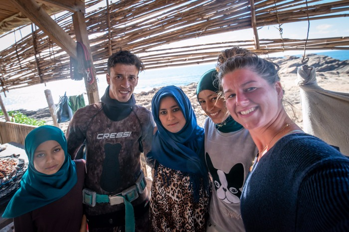 Ellis and a berber family in Imsouane Morocco