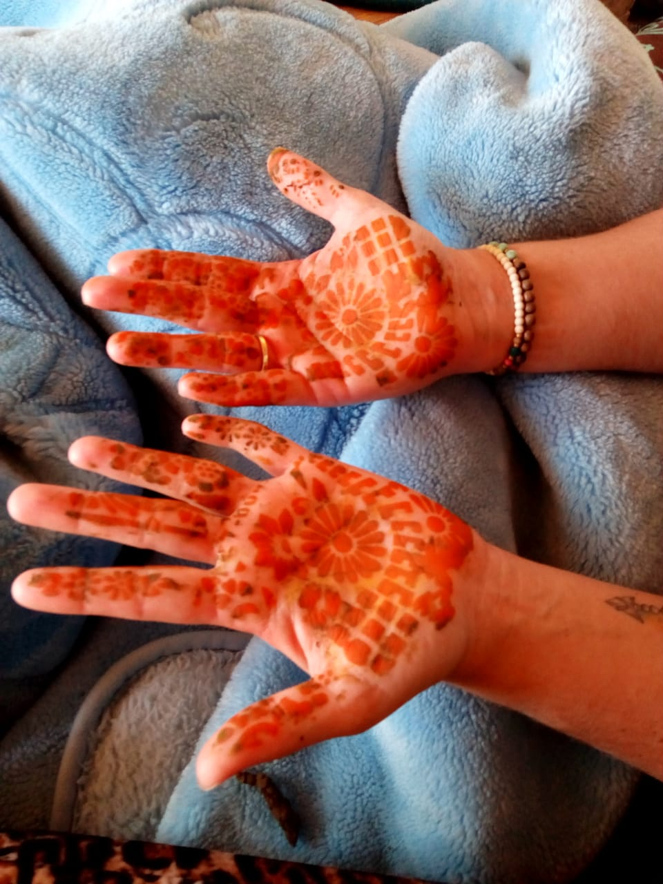 Ellis with henna on her hands in Imsouane