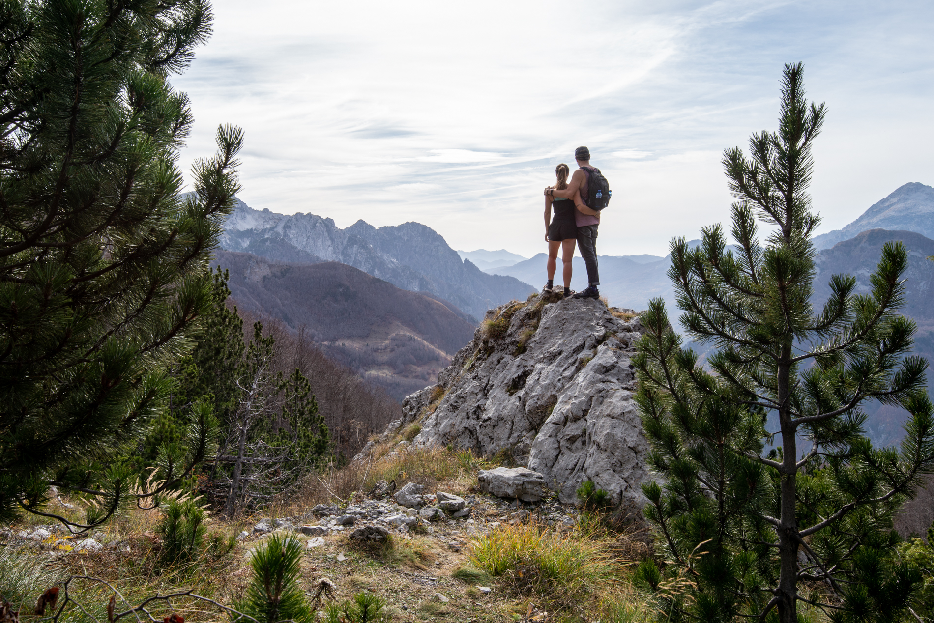 Ellis and me looking over the vally of Theth. Albanian Alps.