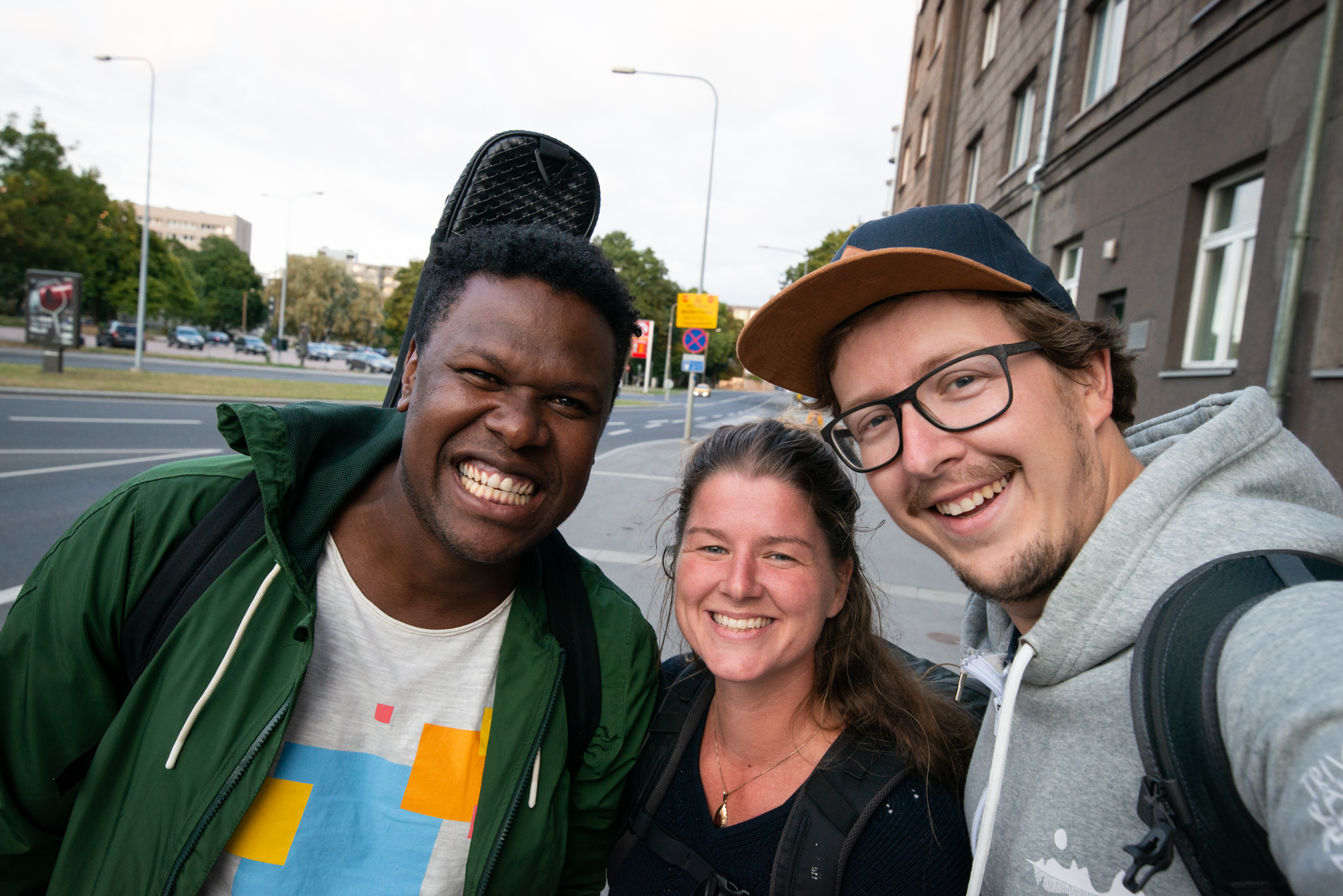 Flavio with his biggest smile, together with Ellis and me in Tallinn, Estonia.