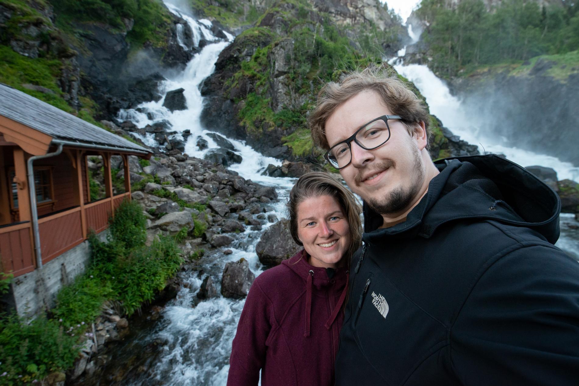 Ellis and Me in Norway at the Tjørnadalsfossen waterfall.