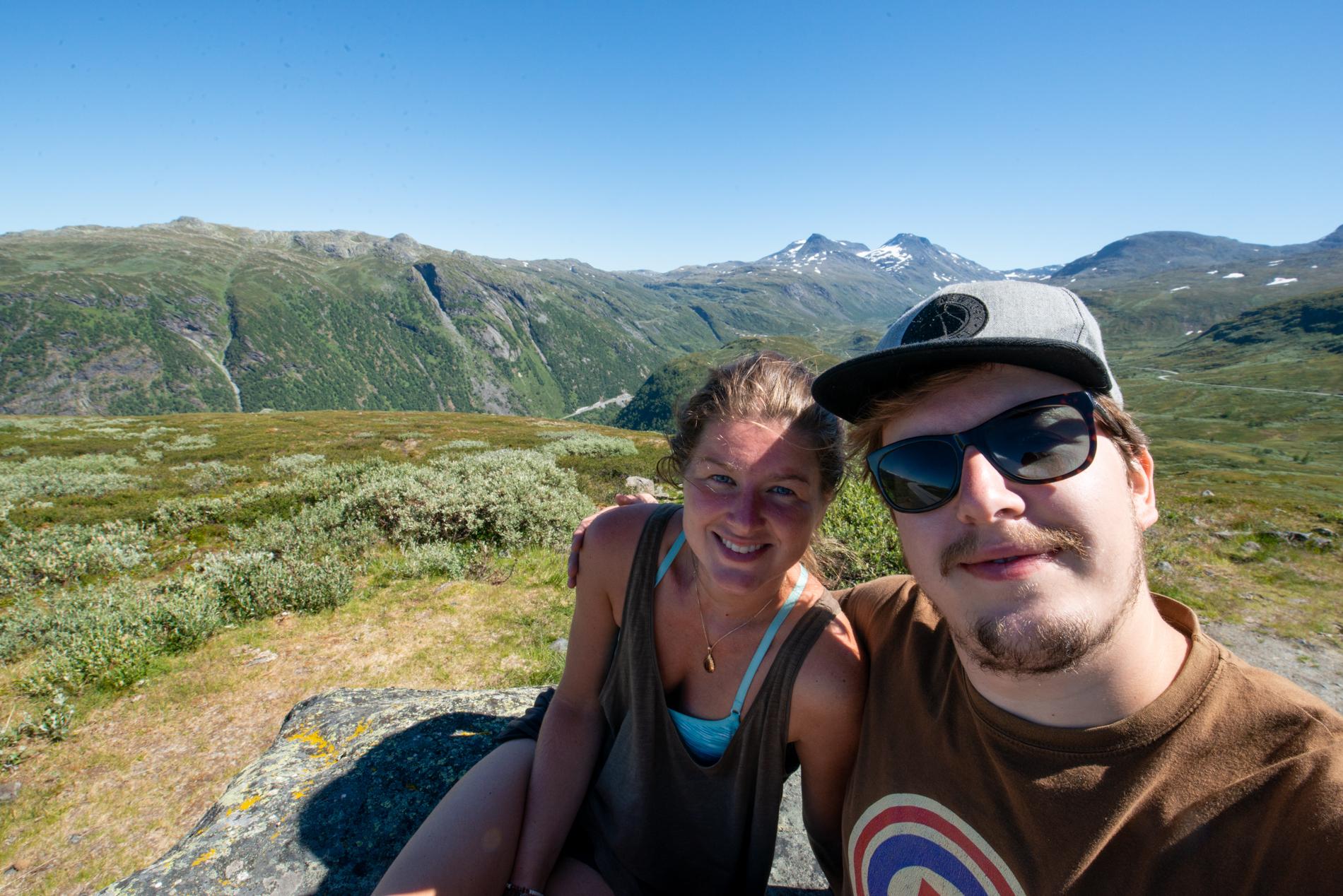 Ellisandme in Norway enjoying the view of the beautiful road in Årdal.