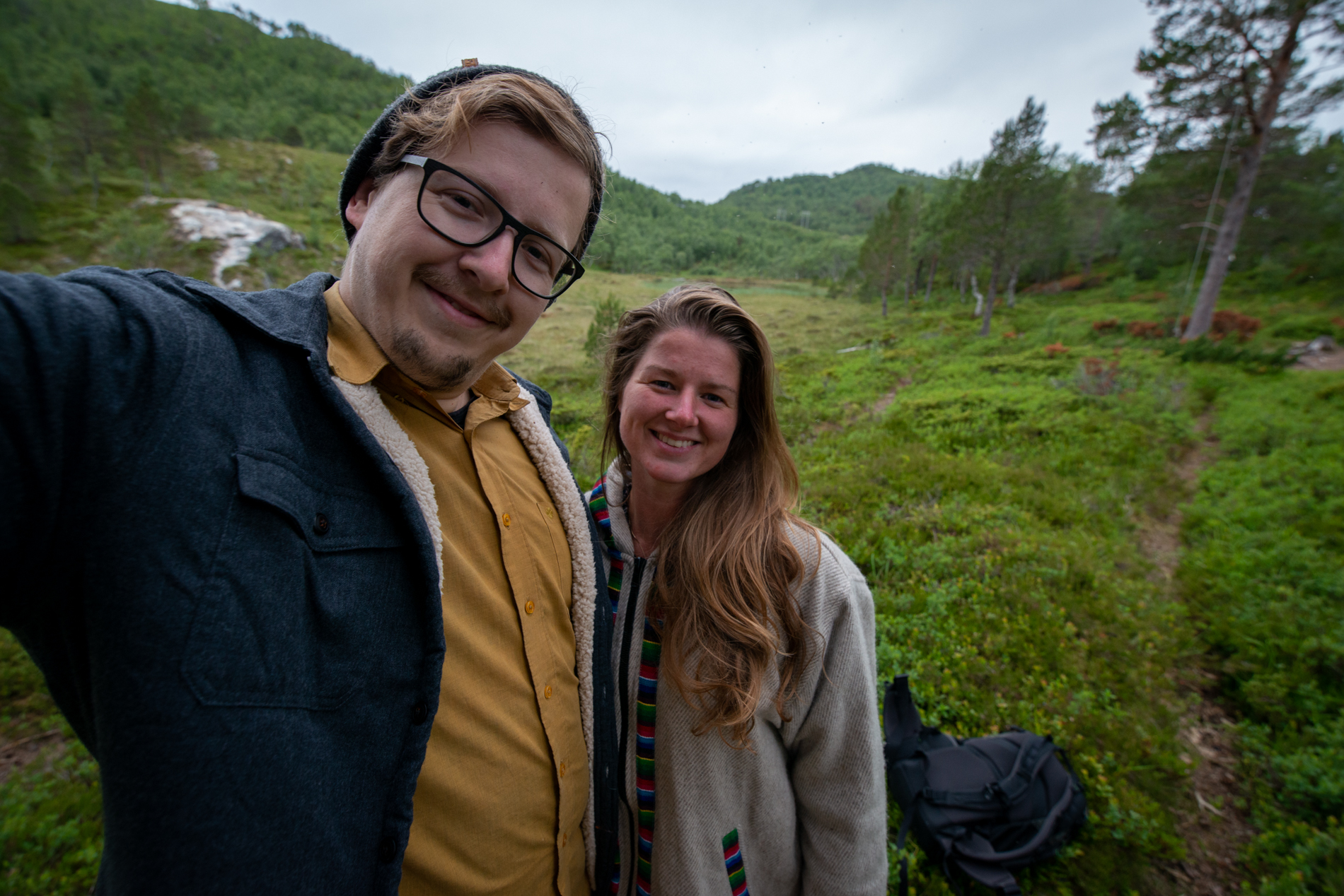 Taking a hike in Nordtung Norway. Ellis and me in northern Norway.