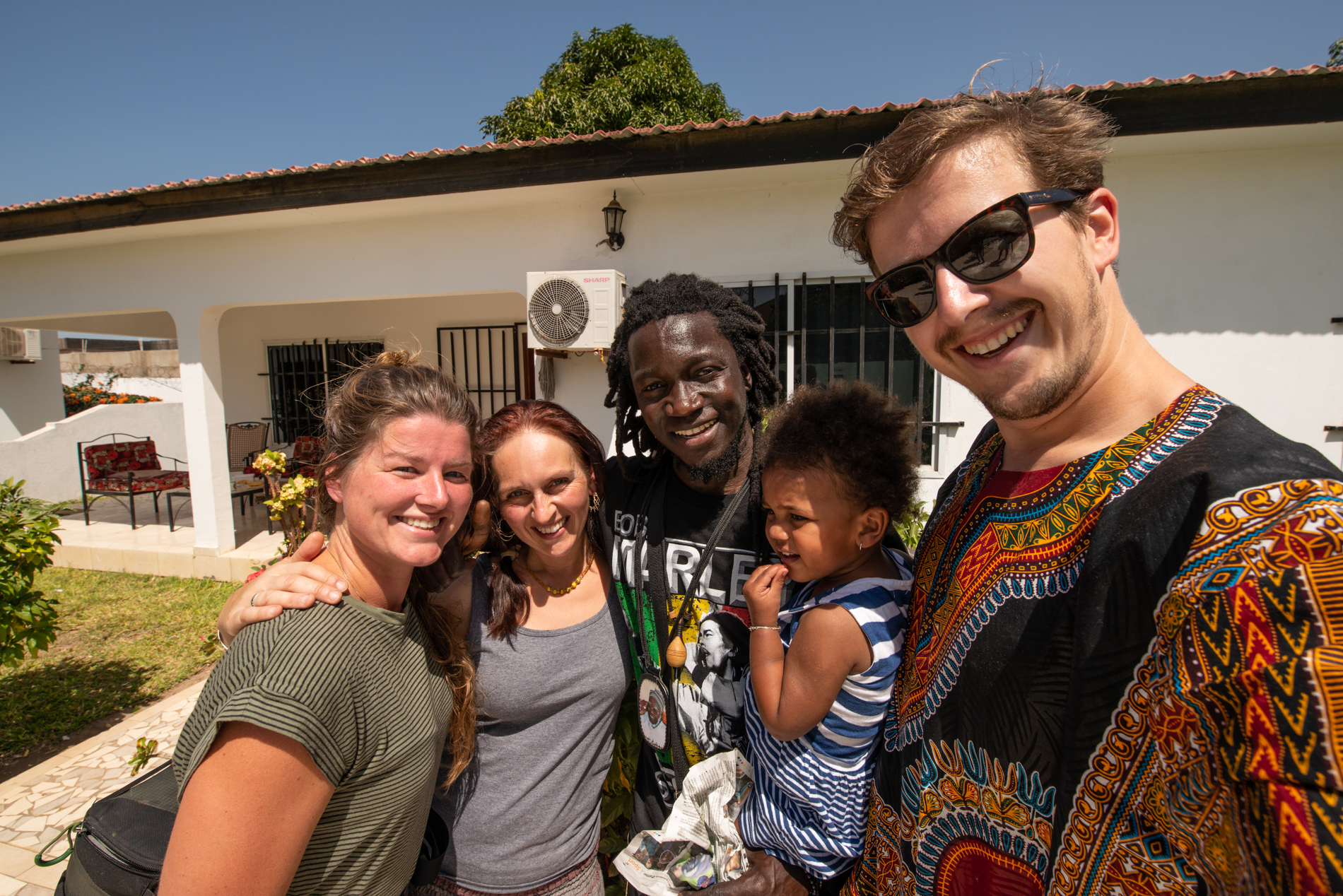 Ellis and me with the hosts of their second charity, M&L foundation in Brufut Brusubi, The Gambia.