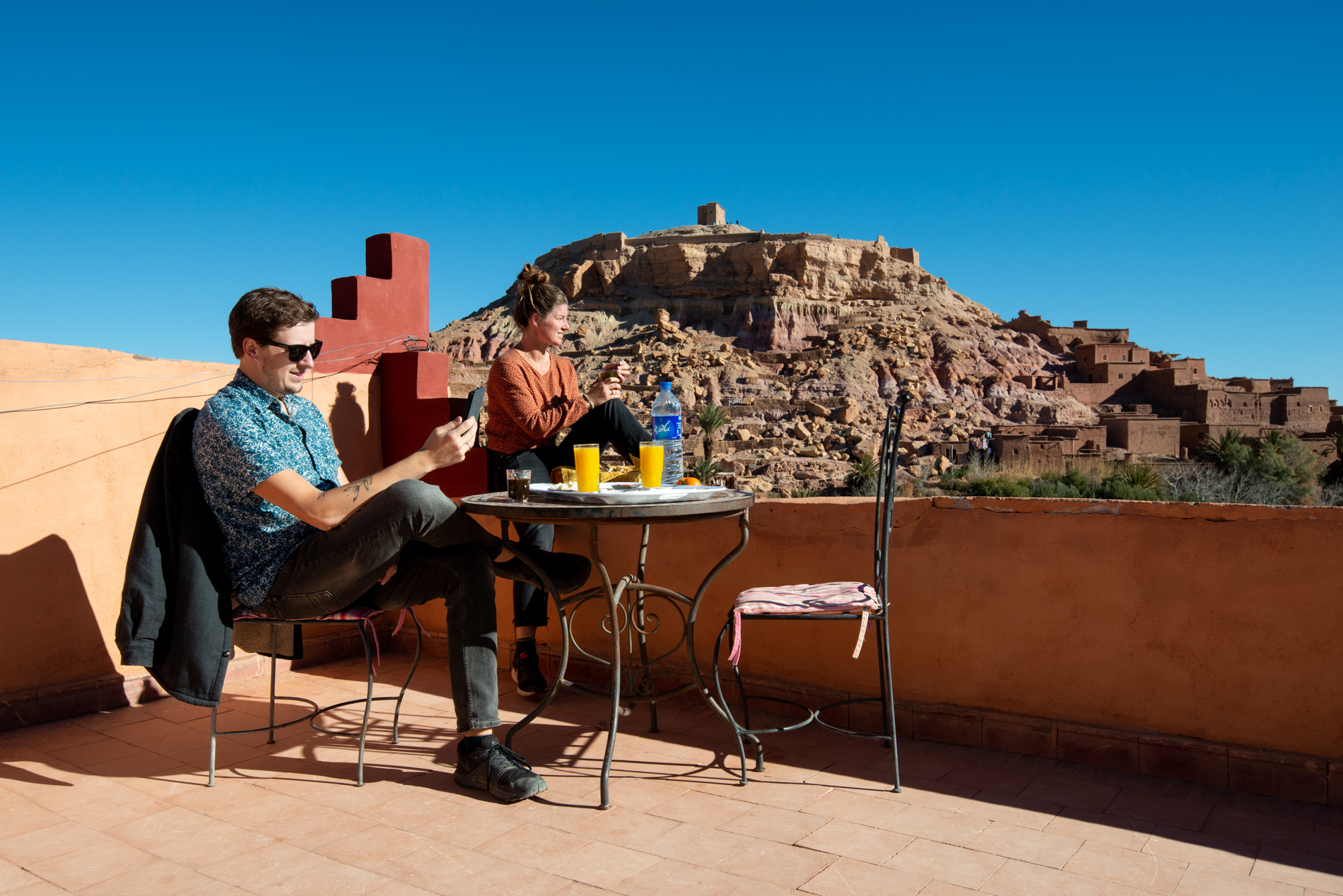 Ellis and me having breakfast at Ait Ben Haddou, Morocco.