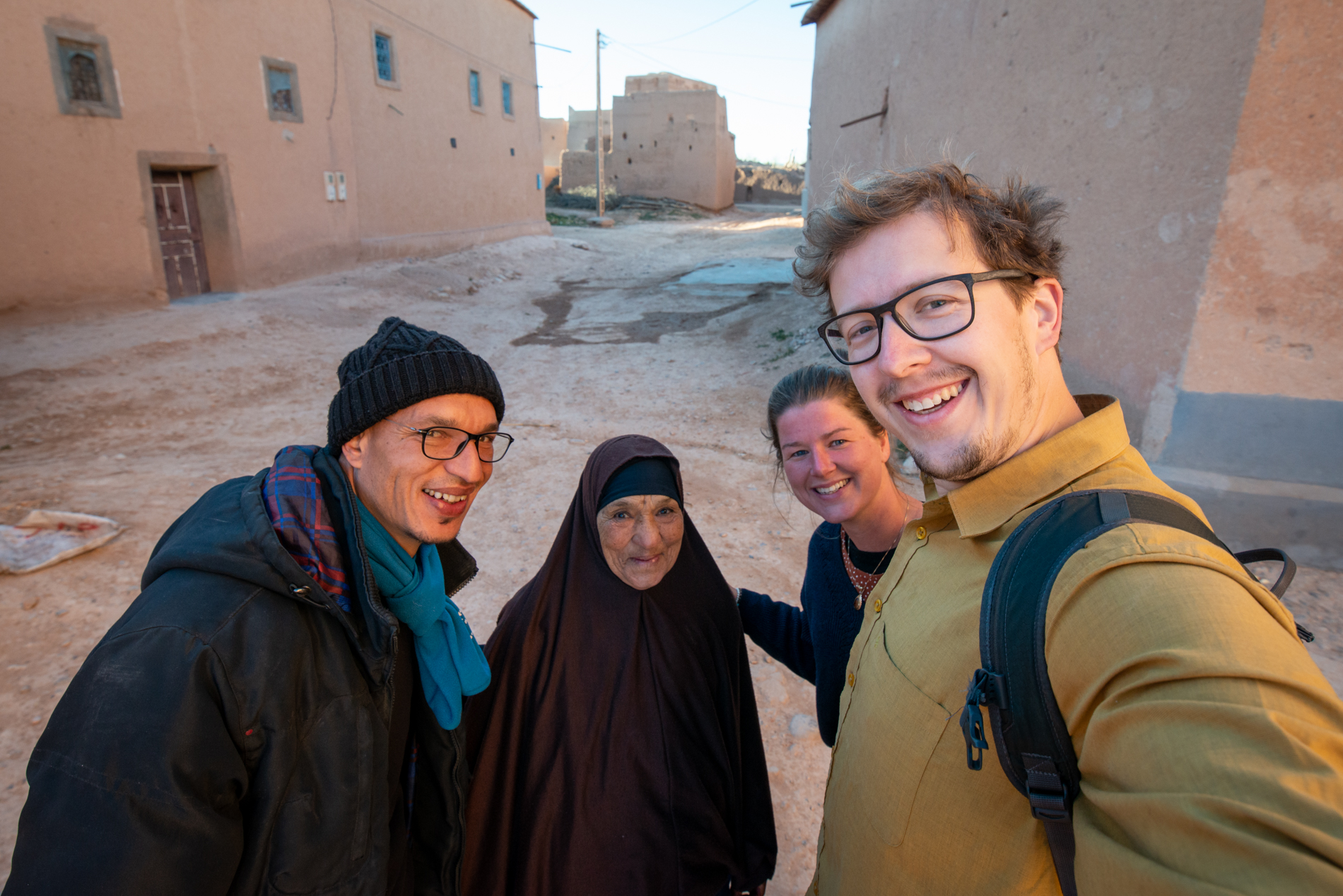 Ellis & me with their hosts in Ait Talb, Morocco.