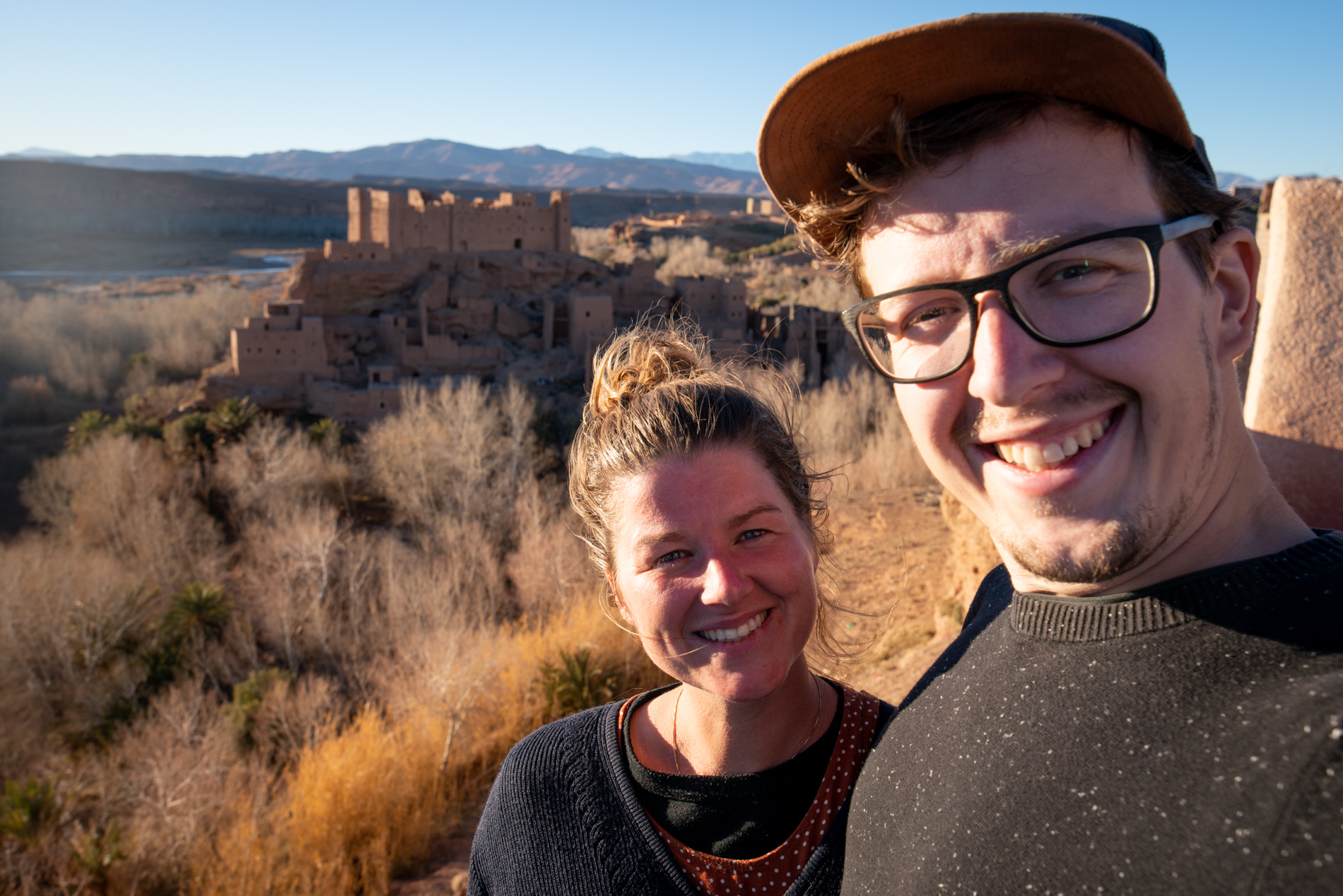 Ellis&me at Kasbah, Kalaat Mgouna, Roses vally in morocco, with a beautiful sunset.