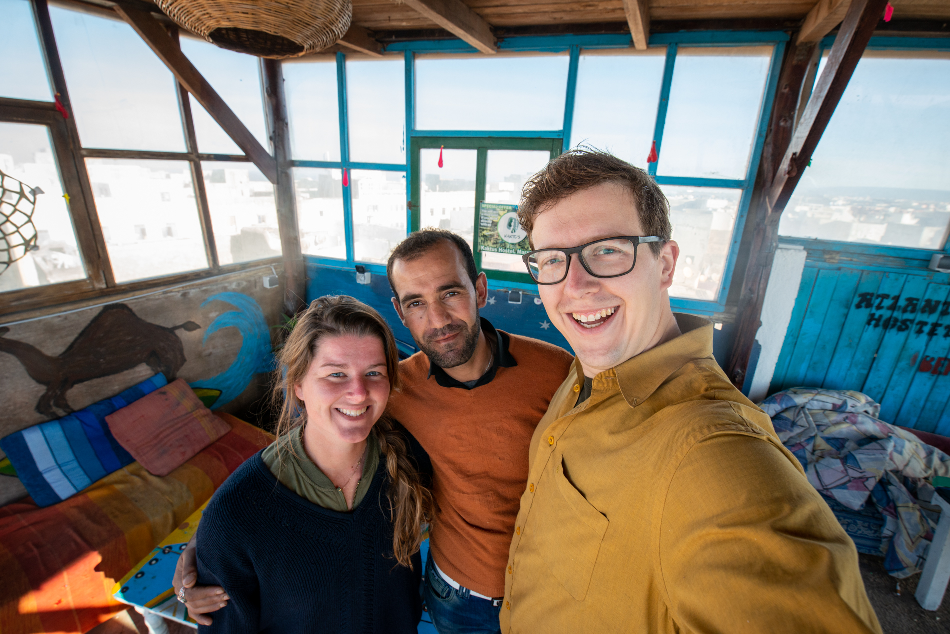 Ellisandme in Morocco with the great host Cous Cous of the Atlantic Hostel in Essouira.