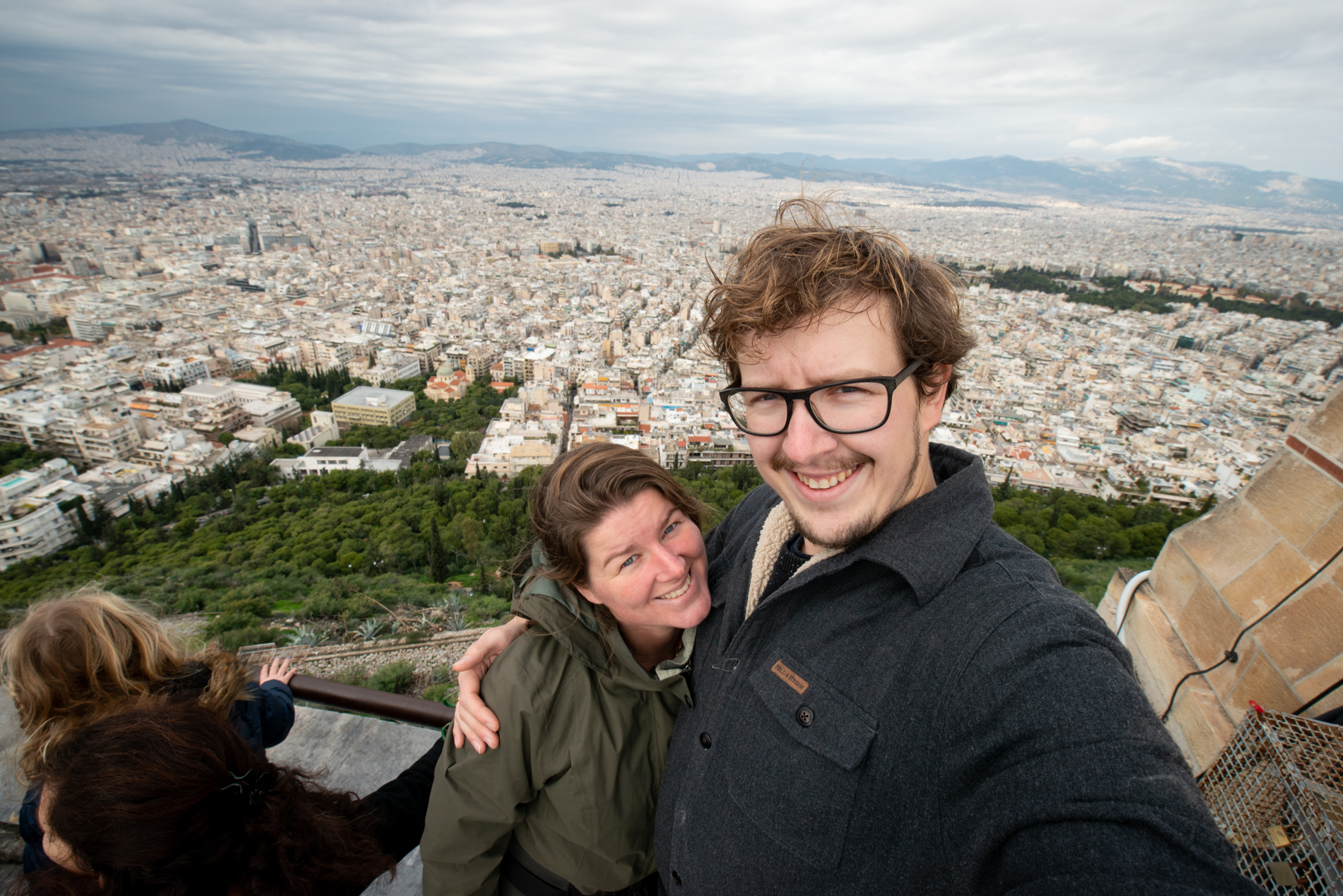 Ellis and me with a view over Thessaloniki. Cloudy day.