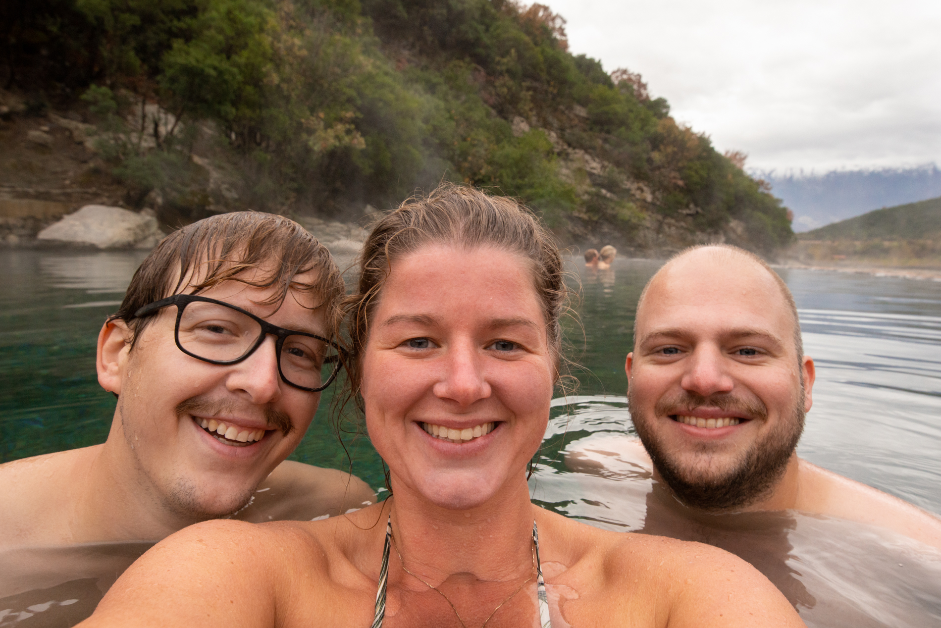 Ellis&me with a good friend chilling in the Benja Thermal Baths. Low season, so not crowded. Përmet district of Albania.