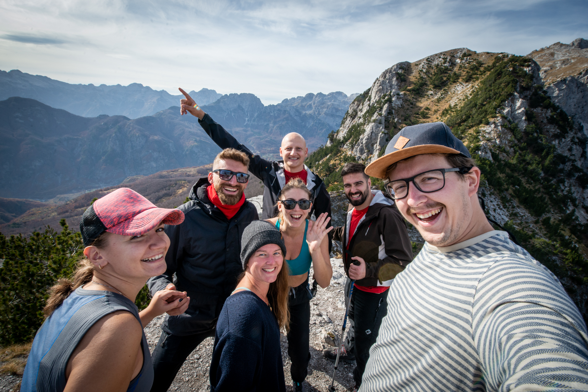 Ellis & me with a group they met during the Theth to Valbona hike.