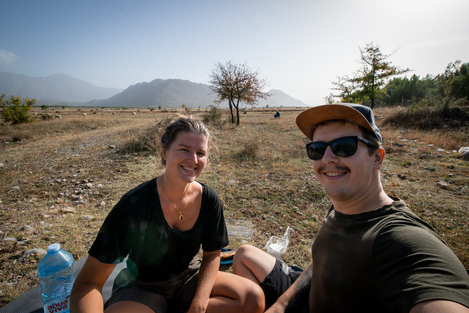 Lunch time for Ellis and me at the fields of Albania, with the mountains on the background.