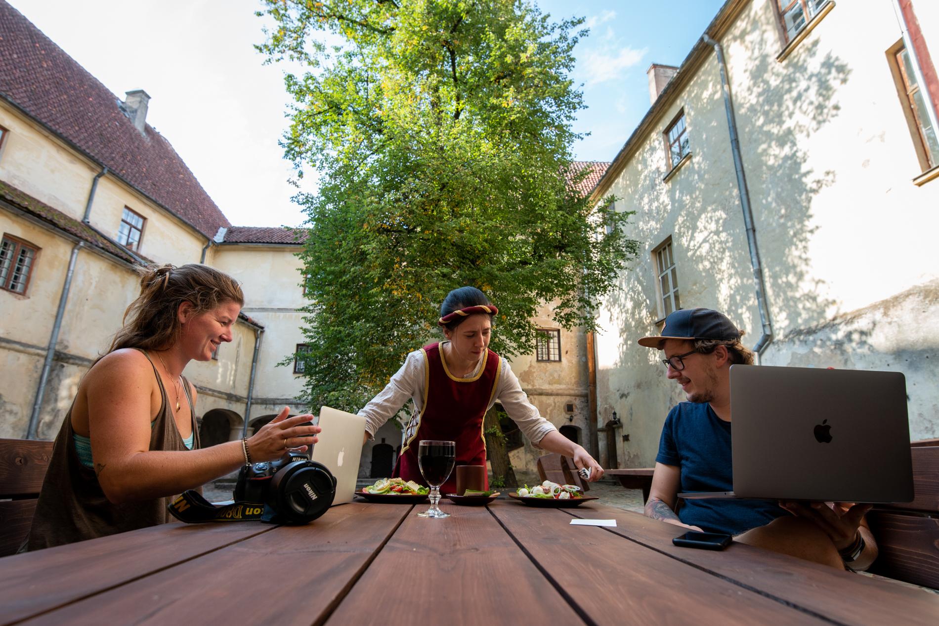 Ellisandme having lunch and work in Jaunpils, Latvia