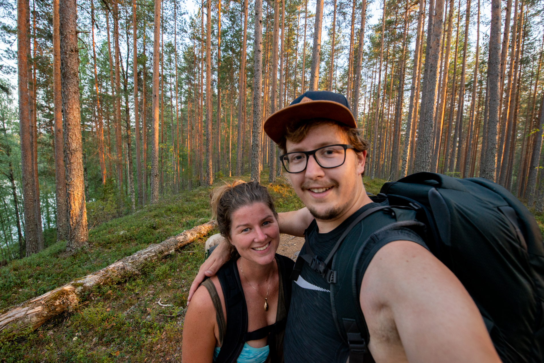 Ellis and me hiking on their way to camp in Jyväskilä, Finland.