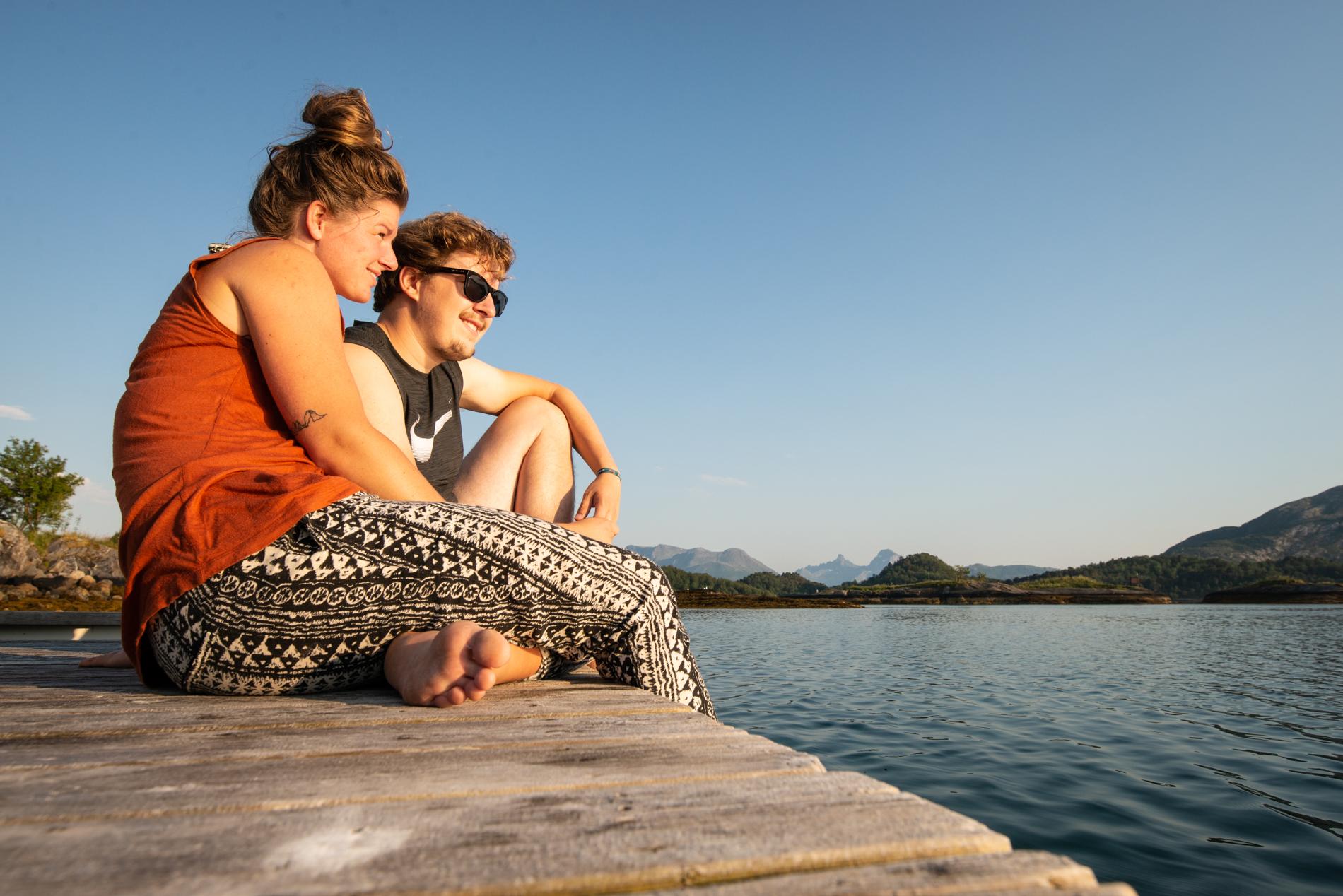 Ellisandme enjoying the sunset over the ocean of Nortdung Norway.