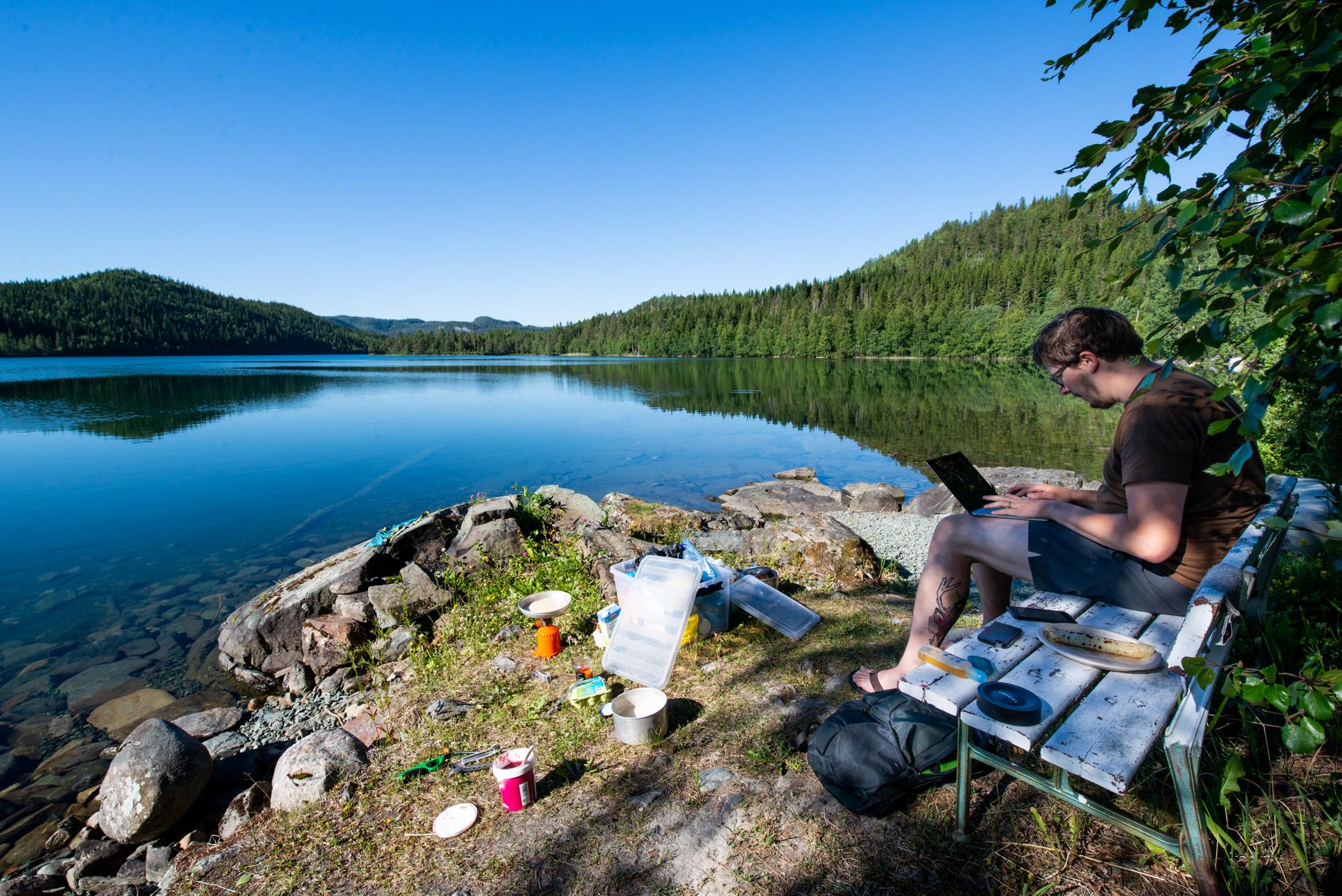 Digital nomad, Ellis&Me, work space in Norway. Sunrise at a peaceful lake.