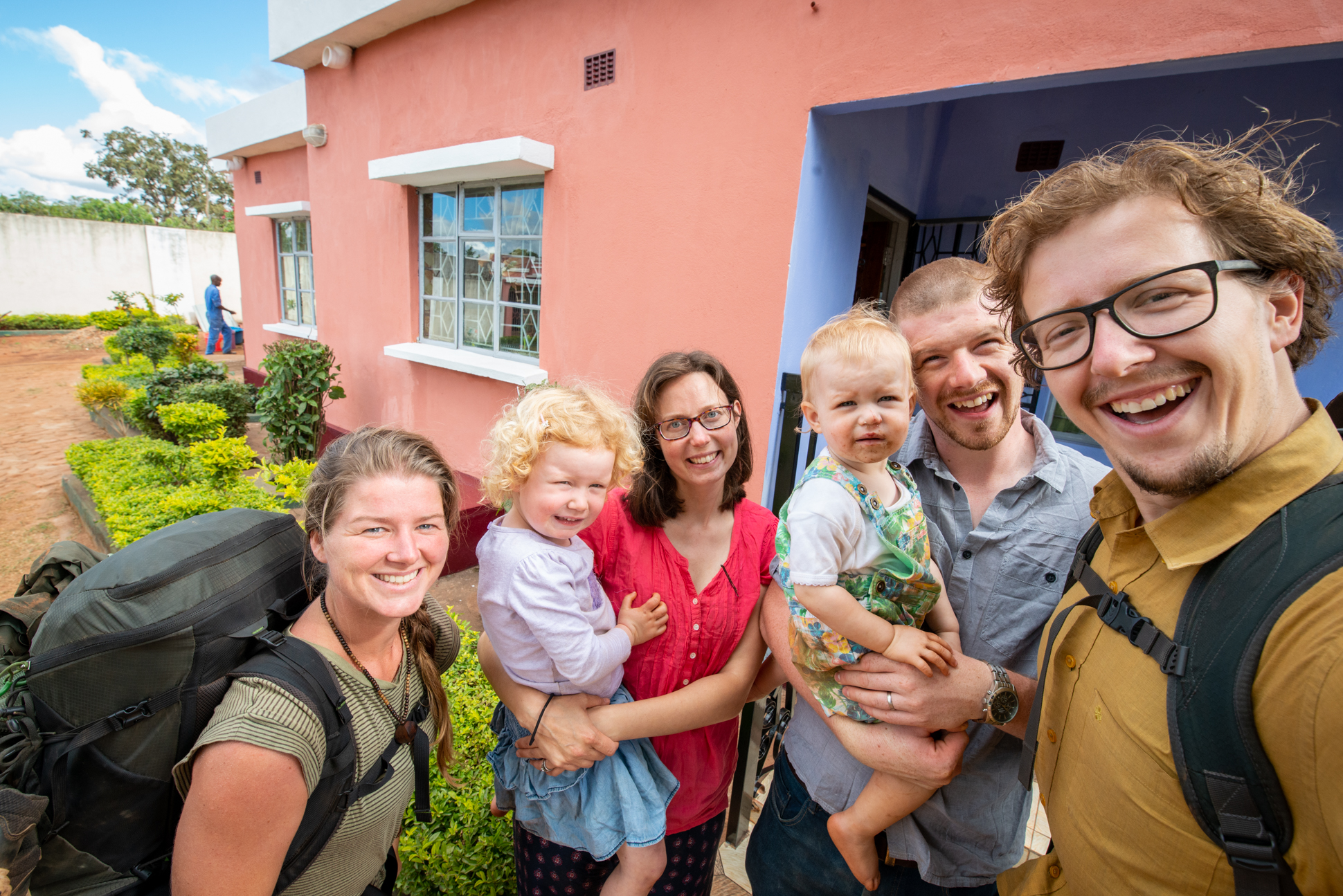Ellis and me with a family with two kids in Mozambique.