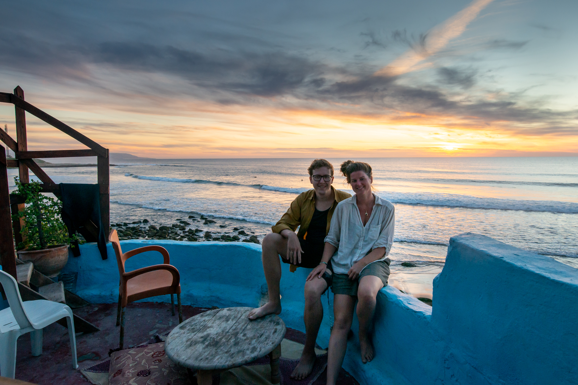 Selfie with Ellis & Me photography. Sunset at Imsouane Morocco. Ocean view.