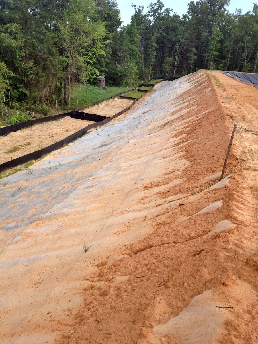 Kengro Biopad erosion control blanket being used on a hillside to prevent erosion