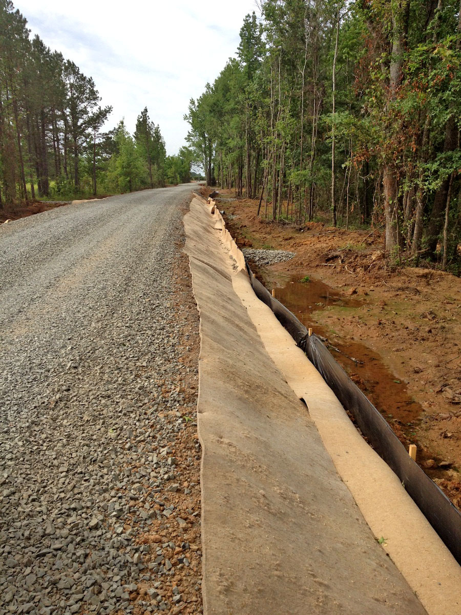 Kengro Biopad erosion control blanket being used on a roadside construction project