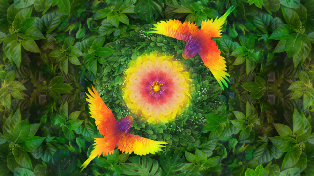 Sound Medicine cover image with forest leaves a bright yellow flower and rainbow coloured birds