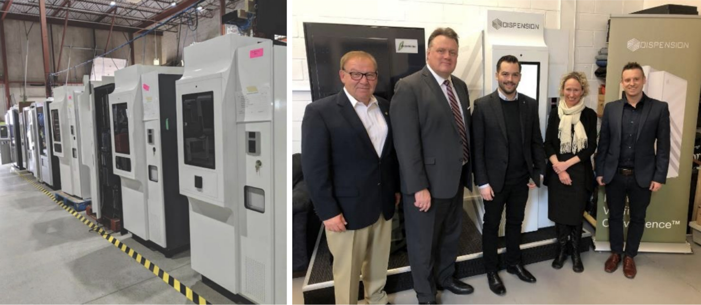 Left: MySafe kiosks in production, July 2020. Right: The Honourable Darrell Dexter, Dispension advisory board member; Mike Savage, Halifax Mayor; Corey Yantha, President /CEO Dispension; Wendy Luther, President /CEO Halifax Partnership and Matthew Michaelis, Chief Operating Officer, Dispension, at Dispension in Dartmouth, NS in March 20
