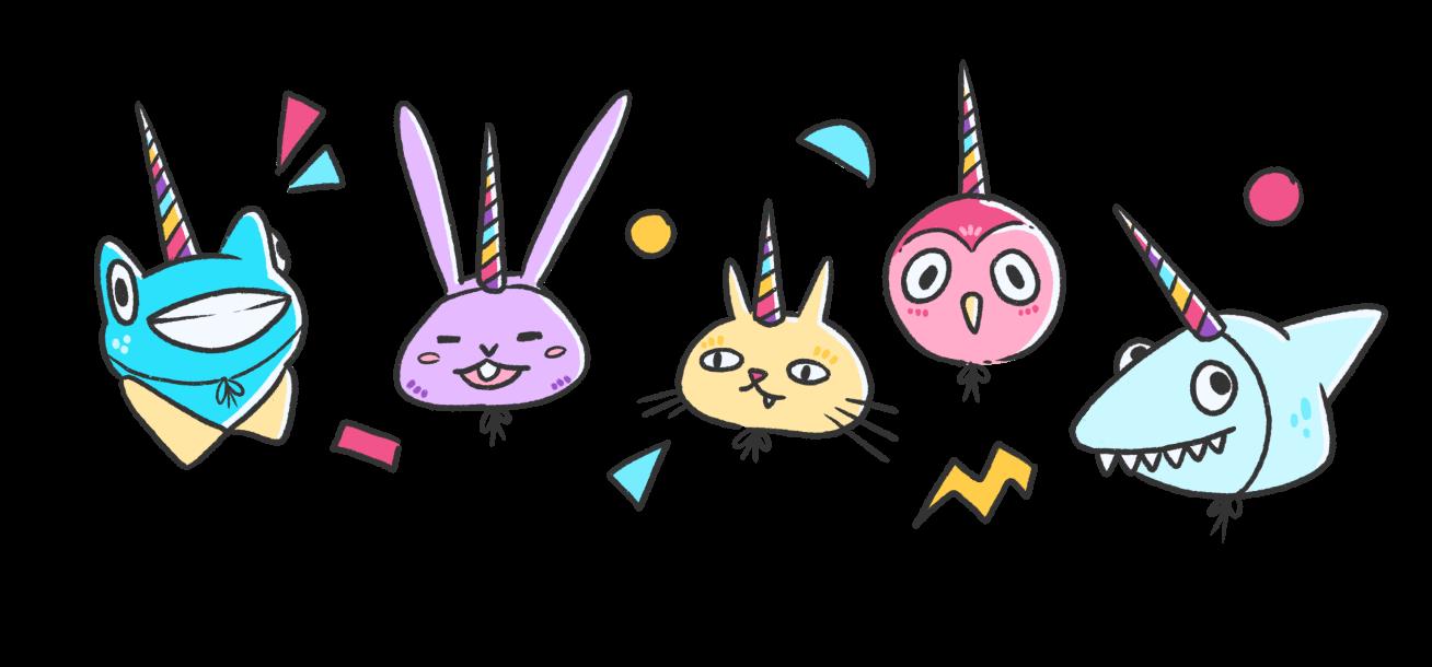 Cute unicorn friends illustration