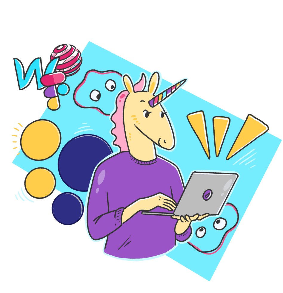 Digital Product Design Unicorn Illustration