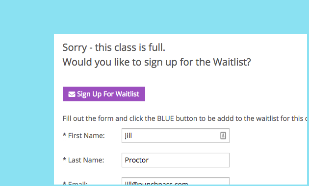 An image showing a customer signing up for a wait list in Punchpass.