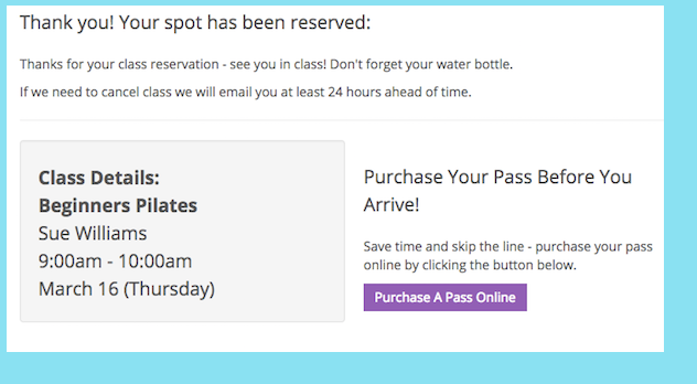 An image of a Punchpass customer who recently made an online class reservation being prompted to purchase a pass online before heading to the studio.
