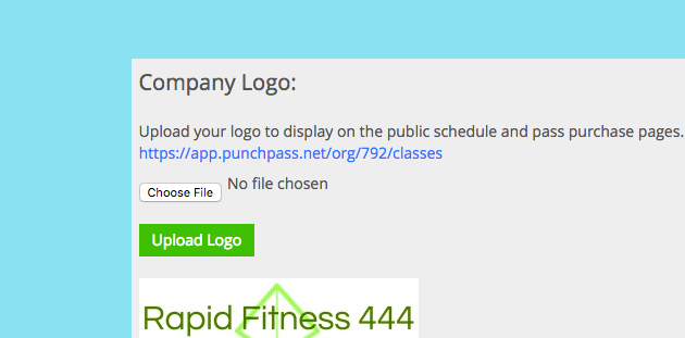 Screen shot of Punchpass administrative page allowing the business to upload their own logo