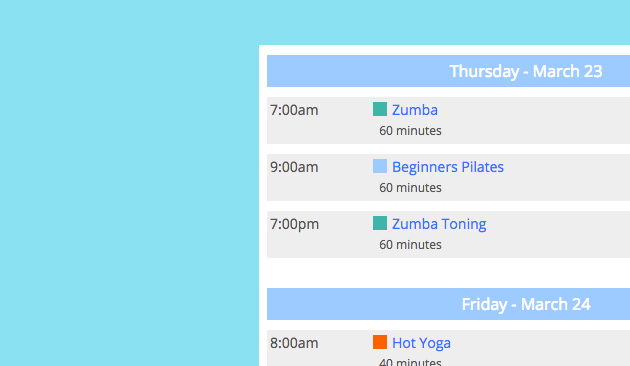 An image showing a Punchpass class schedule online with customized color bars making it more awesome.