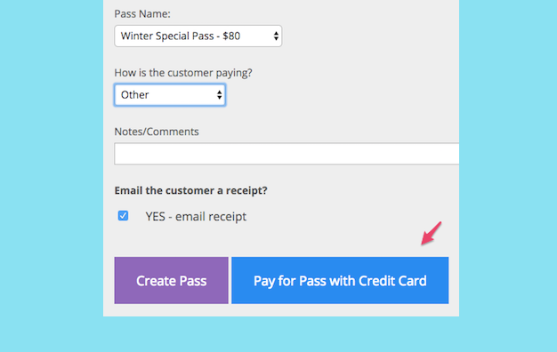 Screen shot of Punchpass allowing an in-person sale of a pass using a credit card