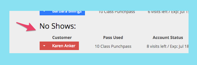 An image showing a customer who is a no show in the class.