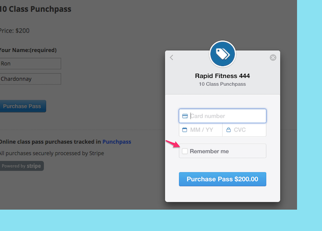 An image showing an improved checkout form for processing credit cards using Punchpass