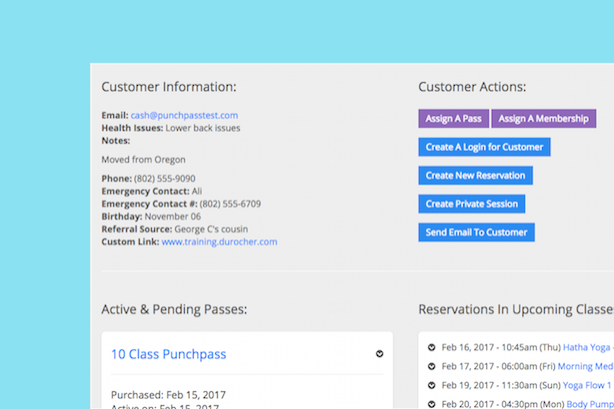 An image showing an improved customer profile page in Punchpass